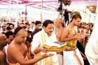<b>Seeking intervention</b> CM Kiran Reddy at a temple