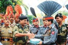 Indian, Pakistani army officers exchange sweets on Id at Wagah