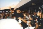 Rajnikanth gets mobbed at Chennai airport