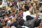 <b>Gathering waves</b> Jagan faces the media after a round of CBI questioning