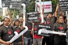 <b>Stick speaking</b> Youth protest the 'Hockey Stick' ACP Dhoble
