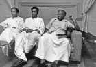 From left, Jyoti Basu, Bhupesh Gupta and E.M.S. Namboodiripad at a central executive committee meeting in August, 1958