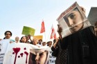 Civil society activists protest the attack on Malala in Islamabad