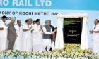 The PM inaugurating the Kochi Metro