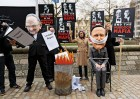 Protesters spoofing Murdoch, Cameron
