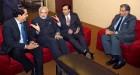 <b>Pehle aap</b> Modi with K.V. Kamath, Mukesh Ambani, Ratan Tata