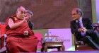 The Dalai Lama in conversation with Pico Iyer at Jaipur Literature Festival in Jaipur.