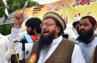 LeT's Hafiz Saeed at a Quetta rally. He has demanded action against saffron terror.