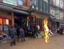 Feb 13, 2013 Video Grab: Nepalese policemen rush as a Tibetan monk burns after he set himself on fire in Katmandu, Nepal.