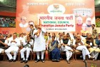 <b>Standing option</b> BJP stalwarts at the party's national council meeting in New Delhi on March 3