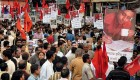 Left activists at a mass rally in Calcutta to protest Sudipto's death