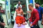 <b>Hurt locker</b> A Buddhist monk injured in the Bodh Gaya blasts on July 7