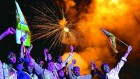 <b>Colour of joy</b> Telangana supporters at Gun Park, Hyderabad