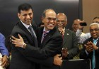 With outgoing governor Duvvuri Subbarao after taking charge, at the RBI headquarters in Mumbai