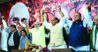 <b>Hand that rocks...</b> Modi with senior BJP leaders after being anointed PM candidate, Sept 13, Delhi