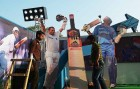 <b>Straight bat years</b> Cut-outs of Tendulkar at the Eden Gardens