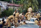 Nov 13: Police in action against residents of Campa Cola housing colony who were protesting demolition of their colony in Mumbai.