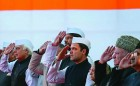 <b>High command</b> Rahul and other leaders salute the Congress flag in New Delhi