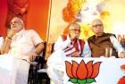 <b>Eye to eye?</b> Modi, Murli Manohar Joshi and L.K. Advani at a BJP meeting