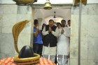 <b>Snake god's charms</b> Arun Jaitley offering prayers at a temple in Amritsar