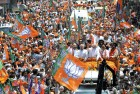 Modi's roadshow before filing nomination papers in Varanasi, Apr 24