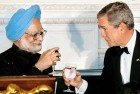 <B>Toast 123</b> Manmohan with Bush—the PM was committed to a restraint-free nuke deal