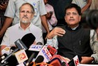 Union Minister of State for Power, Piyush Goyal with Lt. Governor of Delhi Najeeb Jung talking to media after an emergency meeting to discuss plan of action to tackle power crises, in New Delhi.