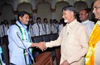 Andhra Pradesh Chief Minister N Chandra Babu Naidu with YSRCP President Y.S.Jagan Mohan Reddy at the first Assembly session in Hyderabad.