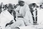 Gandhiji with Subhash Chandra Bose at the 1938 Congress session in Haripura