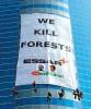<b>Dressing Down</b> Greenpeace activists drape Essar HQ in Mumbai