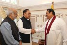 Dr Subramanian Swamy & Prof Madhav Das Nalapat with President of Sri Lanka at Temple Trees, Colombo.