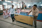 <B>Flat out</b> A school in Delhi gets a new TV set for the PM's address on Sept 5