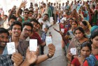 Varanasi lines up to vote in the May 2014 polls.
