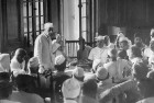 <b>Shapers of democracy</b> Jawaharlal Nehru addressing Congress leaders