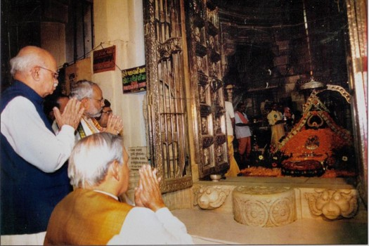 A rare file photo of Atal Bihari Vajpayee,L K Advani and Narendra Modi at Somnath Temple