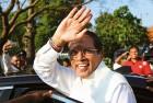 <b>The challenger</B> Maithiripala Sirisena after casting his vote near Colombo on January 8