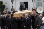 Pallbearers carry the casket of Stephane Charbonnier also known as Charb, the publishing director of Charlie Hebdo, in Pontoise