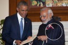 Modi in the much talked about pinstriped bandhgala.