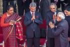 From left, Sujatha Singh, Jaishankar greet PM Modi