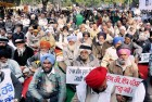 Ex-Servicemen protest against the delay in implementation of