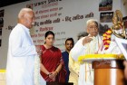 <b>Not pleased</b> RSS chief Bhagwat, Smriti Irani, Ashok Singhal at a book release in Delhi