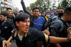 <B>A shaken lot</b> Protests in Kathmandu over lack of government aid