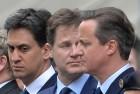 Labour Party leader Ed Miliband, left, Liberal Democrat leader Nick Clegg, centre, and Prime Minister David Cameron