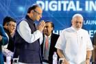 Arun Jaitley, Mukesh Ambani, PM Modi at the 'Digital India' launch in Delhi, July 1