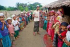 <b>In Thaye Schoge camp</b> A young Rohingya religious teacher takes a Quran class