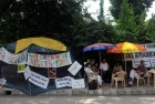 <b>Talking back</b> Protesting parents outside Mirambika Free Progress School