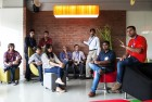 <b>STEPPING ON THE GAS PEDAL</b> Four start-up teams in discussion at the Microsoft Ventures accelerator in Bangalore