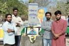 <b>Rohith Stupa</b> Sheshaiah, Vijay, Vepula and Dontha at his memorial