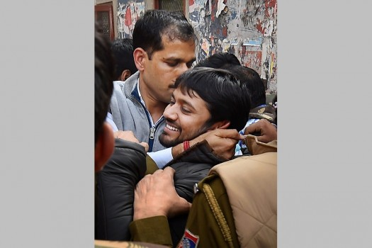 JNUSU President Kanhaiya Kumar, arrested on charges of sedition, being produced at Patiala House Courts in New Delhi.