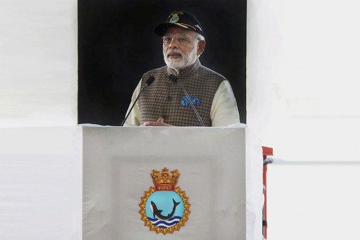 PM Modi at the commissioning of Scorpene Class Submarine INS Kalvari at the Naval Dockyard in Mumbai.